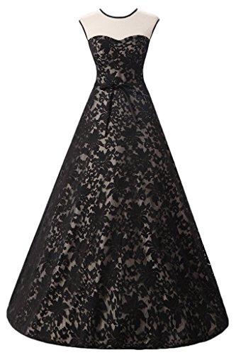 ivyd ressing robe col rond dentelle Prom préférée longue robe de bal robe du soir Noir