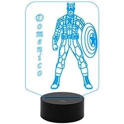 Generico Idea regalo Capitán América lámpara luz nocturna a LED de escritorio personalizado con nombre cambia color con Touch Switch diseño superhéroe