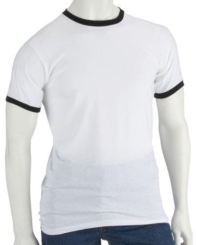 Baumwolle Ringer T-shirt (Fruit of the Loom Ringer T-Shirt Weiß L)