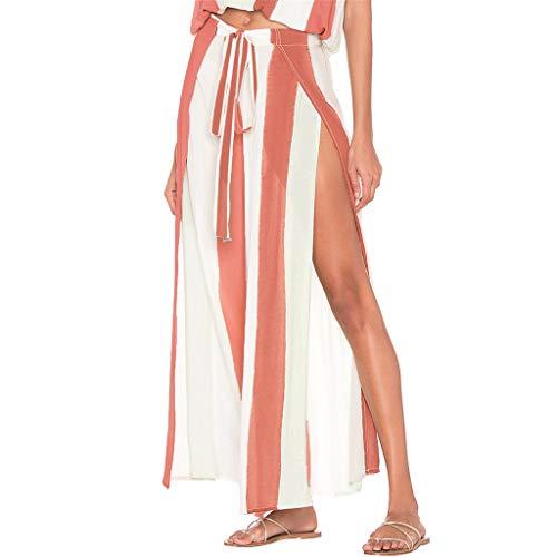 Damen-Casual Palace Hose High Taille gestreifte Yoga Beach Hose gespaltene Blume breitbeinige Hose mit Gürtel - Ausgestellte Dance Hose