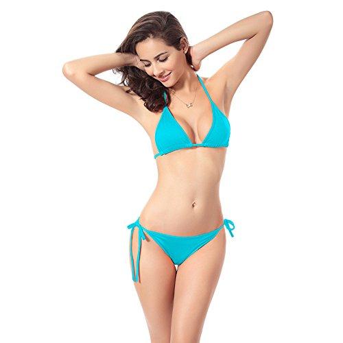 QingJiu Frauen Bandage Bikini Set Push-Up BH Badeanzug Badeanzug Bademode(Blau,One Size)