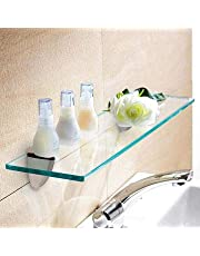 """Naha Decor Multi-Purpose Wall Mount Fancy Clear Glass Shelves Stand/Rack/Holder of 12 x 9 inch with Stainless Steel F """" Type Wall Brackets and Remote space"""