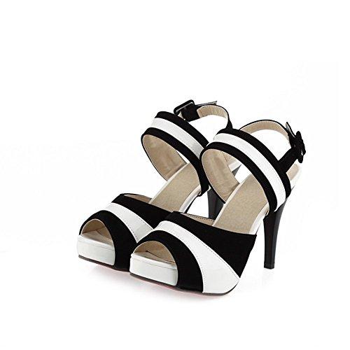 haut noir talons en Adee assorties Sandales Mesdames Couleurs cuir Noir 5xnnFzv