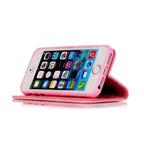 Tasche iPhone 5S, Anfire Apple SE Hülle in Rot Magnetverschluss Kartenfächer Klapptasche Stil Schutzhülle Handyhülle Apple iPhone 5 / 5S / SE Premium Geldbeutel Kunstleder Flip Taschenhülle Case Cover Rosa