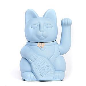 Lucky Cat. Der klassische Glücksbringer in winkender Katzengestallt oder Maneki-Neko in fröhlichen Farben. HELLBLAU: Berufserfolg .12x9x18cm
