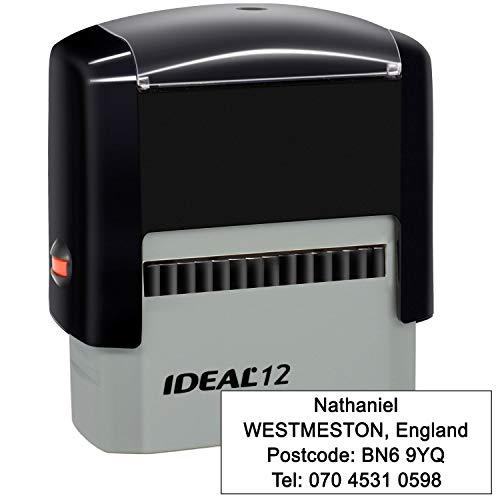 Timbri Personalizzati (47 x 18 mm-4 righe)- Timbro autoinchiostrante, personalizzabile- Ritorna il timbro dell'indirizzo personalizzato, Nero