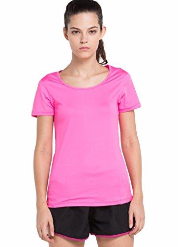 Cody Lundin Femme T-shirt Couleur Unique Confortable Running Jogging Loisirs Chemise Rose