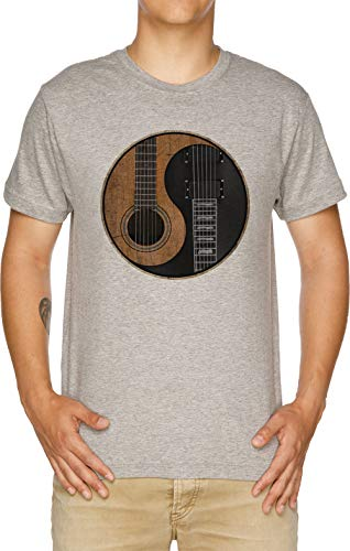 Yin Yang Gitarre Herren T-Shirt Grau (Akustische Gitarre Größentabelle)