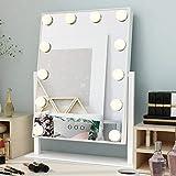Ovonni Schminkspiegel mit 12 Beleuchtung 360° drehbar Kosmetikspiegel LED Licht Spiegel Beleuchtet für Make-up Wohnzimmer Weiß