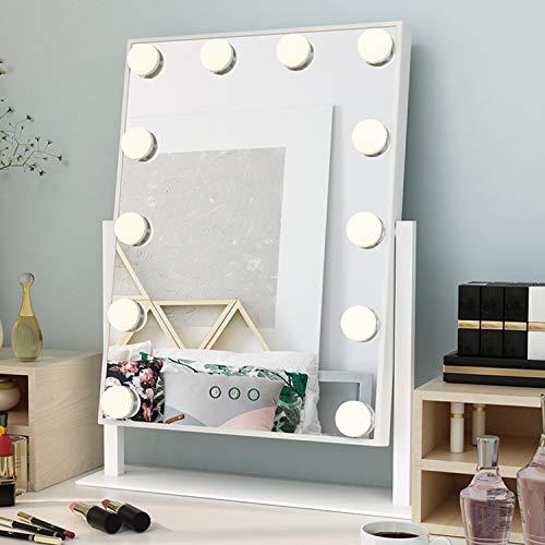 Ovonni Miroir de Maquillage Lumineux LED Miroir de courtoisie éclairé avec 12 Ampoules LED réglable et Design Touch Ecran intregré, Style Hollywood, Modes de 3 Couleurs, Blanc