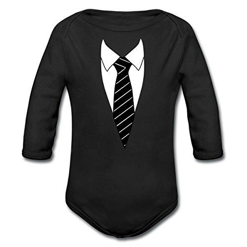 Hemd Mit Krawatte Kostüm Witzig Baby Bio-Langarm-Body von Spreadshirt®, 80 (9-12 M.), Schwarz