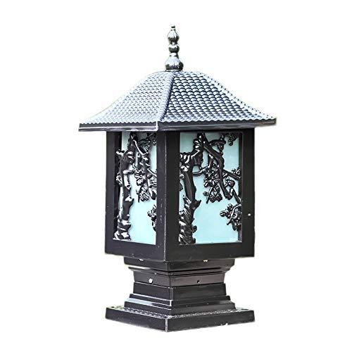 Europäischer Hof-Garten-Außenbeleuchtung wasserdichte IP55-Landhaus-Türpfosten-Lampen-Patio-Pfad ein-Licht Außensäule Laterne-Wand-Lampe traditionelles E27 (Color : Black-H-50CM)