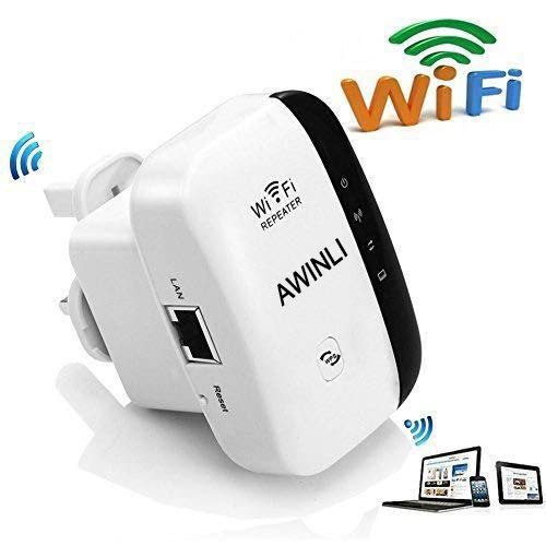 Extensor de red WiFi 300Mbps Mini Wireless Extensor de Rango Inalámbrico AP Amplificador Full Coverage Router Enrutador Repetidor Booster Wireless-N 2.4GHz Universal EU Enchufe (N300,WPS)
