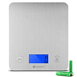 Etekcity Bilancia Cucina Digitale Professionale 5kg/11lb, Bilancia da Cucina Elettronica Inox, Modalità Liquido Solido, Batterie Incluse, Argento