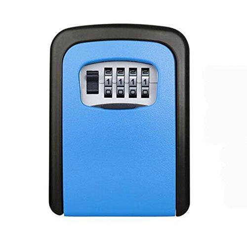 Ultra-Large-Kapazität Key-Lock-Box Safe, HomeYoo Mini-Safe-und Schlüssel-Management-System, wetterfeste Wand-Kombinations-Code Key Storage Cabinet für Ersatzschlüssel starke Sicherheit und außen teilen (90*65*30mm, Blau) (Lock-boxen Key Storage)