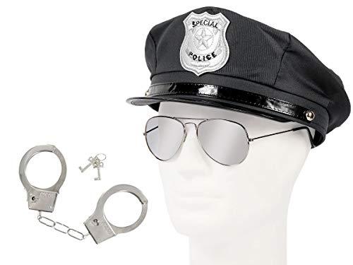 t Karneval Verkleidung (Kv-122) Polizeimütze   Pilotenbrille und Handschellen ()