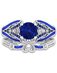 YIJIAN Anillo Zafiro Anillo Corazón Anillo de Piedras Preciosas Retro/azul / 14ºÅ