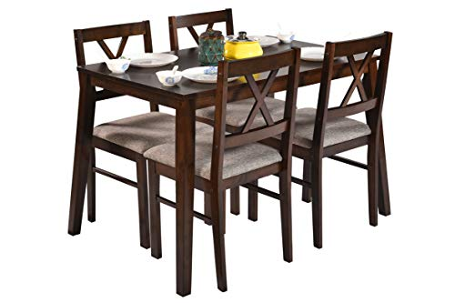 DeckUp Barbados Four Seater Dining Table Set (Rubber Wood, Wenge)