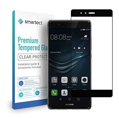 smartect Protection d'Écran en Verre Trempé pour Huawei P9 [3D Curved - Noir] - Film Protecteur Ultra-Fin de 0,3mm - Vitre Robuste avec 9H de Dureté et Revêtement Anti-Traces de Doigts
