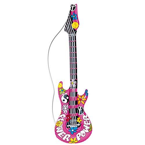 Amakando Deko Luftgitarre Rockstar Gummigitarre Hippie Rocker Inflatable Guitar Aufblasbare Gitarre Partydeko aufblasbar Mottoparty Musikinstrument Accessoire Party Gitarren Instrument