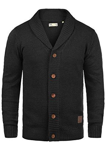 !Solid Torres Herren Strickjacke Cardigan Feinstrick mit Schal-Kragen und V-Ausschnitt aus hochwertiger Baumwollmischung Meliert, Größe:L, Farbe:Black (9000)