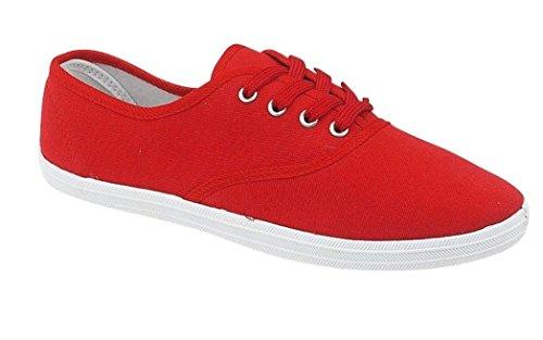 Tennis en tissu à lacets - garçon/fille - Rouge - EUR 27
