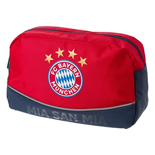 FC Bayern München Kulturbeutel / Waschtasche / Tasche rot mit Logo FCB - plus gratis Aufkleber forever München