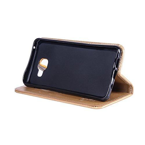 Horizontale Flip Stand Case Retro PU Leder Magnetische Verschluss Shell Abdeckung mit Lanyard & Card Slots für Samsung Galaxy A3 2017 ( Color : White ) Gold