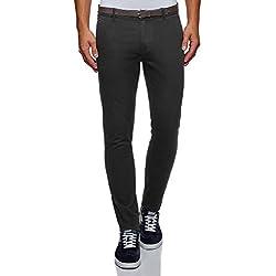 oodji Ultra Hombre Pantalones de Algodón con Cinturón, Negro, ES 40 (M)