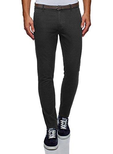 oodji Ultra Hombre Pantalones de Algodón con Cinturón, Negro, ES 42 (M)