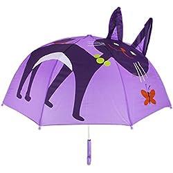 Itian Parapluie pour Enfants, Parapluie de Pluie pour Garçon et Fille avec Oreilles 3D, Chat