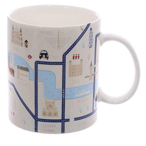 Puckator MUG198 Mug Design Carte de Londres Porcelaine Blanc/Vert/Bleu
