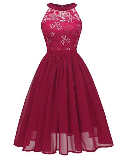 Viloree Damen Neckholder Floral Spitze Brautjungfern Partykleid Ärmellos Cocktail Kleid Burgundy 2XL (Prinzessin Kleider Für Damen)