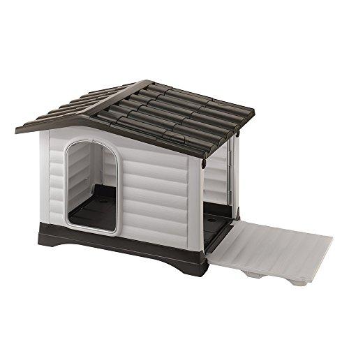 Feplast 87255099 Dogvilla 90 - Caseta de exterior para perros , Panel Lateral Que Se Puede Abrir, Robusto Plástico Resistente A Los Golpes y A Los Rayos UV, Rejilla de Ventilación, 88 x 72 x 65 Cm