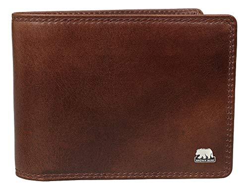 Brown Bear Geldbörse Herren Leder RFID Schutz Farbe Braun Tobacco hochwertig Doppelnaht Quer-Format Geldbeutel Männer Portemonnaie Business Portmonaise Portmonee Ledergeldbeutel Ledergeldbörse