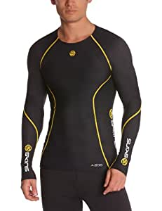 Skins A200 Long Sleeve Men's Compression Top - Black/Yellow, XS
