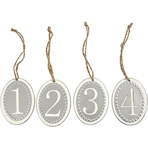 Holzzahlen klein 28237 mit Metallschildern - 4 kleine Adventszahlen Anhänger als Adventsschmuck und Weihnachtsdekoration. 6 x 8 cm Größe, 6 mm Dicke.