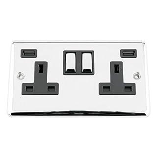 USB Socket 2 Gang - Polished Chrome - Classic - Black Insert Metal Rocker Switch - 13A Double Wall Plug USB Socket 3