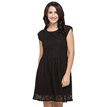 2e7088d107 ... Dresses  ›  Life by Shoppers Stop Womens Round Neck Lace Skater Dress