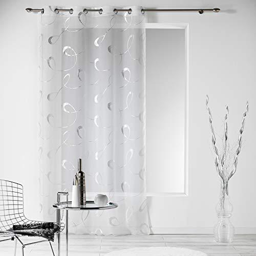 Douceur d' interno 1624249tenda con occhielli, stampa argento infinite bianco poliestere 240x 140cm