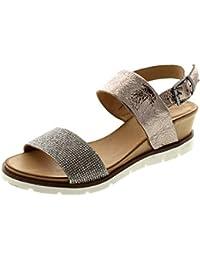 Maca Kitzbühel 2200 - Damen Schuhe Zehentrenner Pantoletten - Mouton-Gold, Größe:39 EU