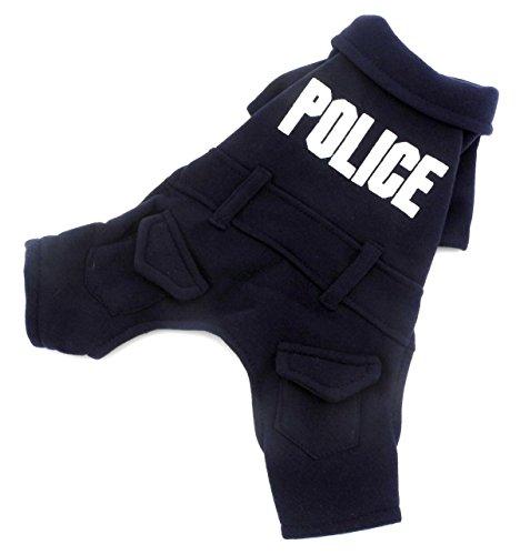 (zunea Polizei kleine Hunde Schlafanzüge Fleece Puppy Jumpsuit Pullover Jacke Warm Winter Herbst Hund Bekleidung Chihuahua Kleidung dunkelblau)