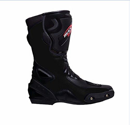 maxfive Motorrad Stiefel Sting 007Racing Touring Sports New Style CE-geprüft und Stiefel Motorrad lang Knöchelschutz Schuhe rutschfeste Racing Sport | schwarz (Stahl Zehen Stiefel Wasserdicht)