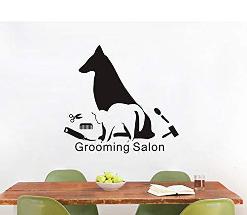 Finloveg Heißer Verkauf Kunstwand Hund Und Katze Make Up Silhouette Wandaufkleber Vinyl Wandtattoo Für Salon Salon Wanddekoration 56X70 Cm