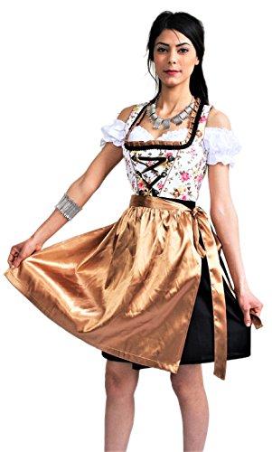 Bavarian Clothes Dirndl Damen Midi Trachtenkleid 3tlg. 048 mit Bluse und Schürze geblümt, Schwarz Gold Gelb, Wiesn Oktoberfest (Größe 40)