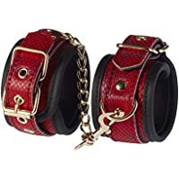 Deluxe esposas con dibujo, cordones rojos con cadena dorada y candado para juegos eróticos