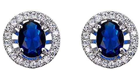 SaySure - White Gold Filled Round Zircon Crystal Stud Earrings