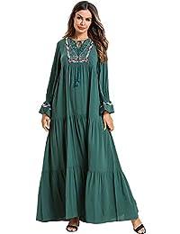 Acqrobe Femmes Caftan Musulman Robes - Élégant Broderie Robe Maxi Dubaï  Islamique Abaya Jilbab Turc Robe cf90eb04e3d