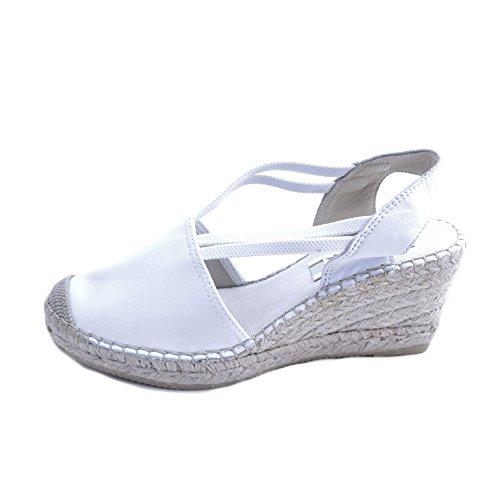 Vidorreta Frauen Sandalen in Weißem Stoff Geschlossen Zehe. 7cm Rafia Keil mit Gummisohle. Größe - Sandalen Damen Stoff Schuhe Keil