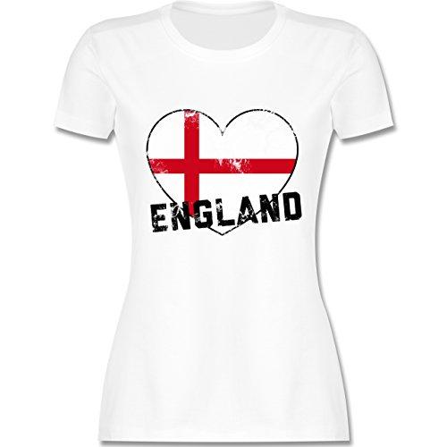 EM 2016 - Frankreich - England Herz Vintage - tailliertes Premium T-Shirt mit Rundhalsausschnitt für Damen Weiß